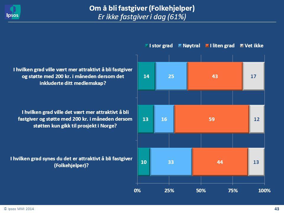 43 © Ipsos MMI 2014 Om å bli fastgiver (Folkehjelper) Er ikke fastgiver i dag (61%)
