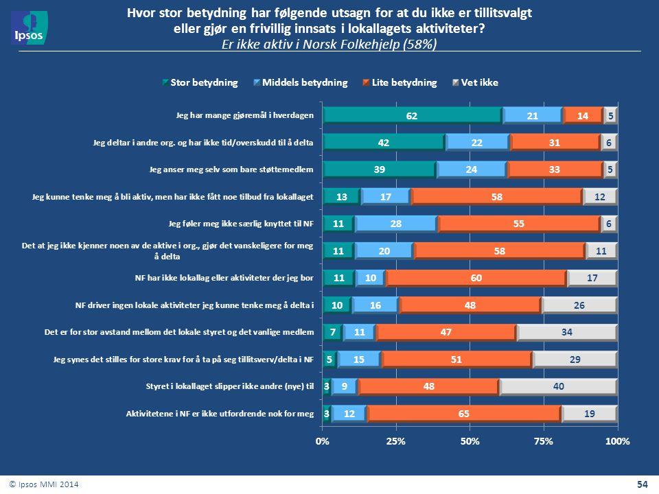 54 © Ipsos MMI 2014 Hvor stor betydning har følgende utsagn for at du ikke er tillitsvalgt eller gjør en frivillig innsats i lokallagets aktiviteter?