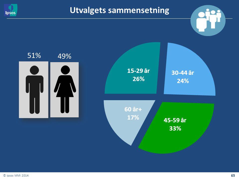 65 © Ipsos MMI 2014 Utvalgets sammensetning 51% 49%