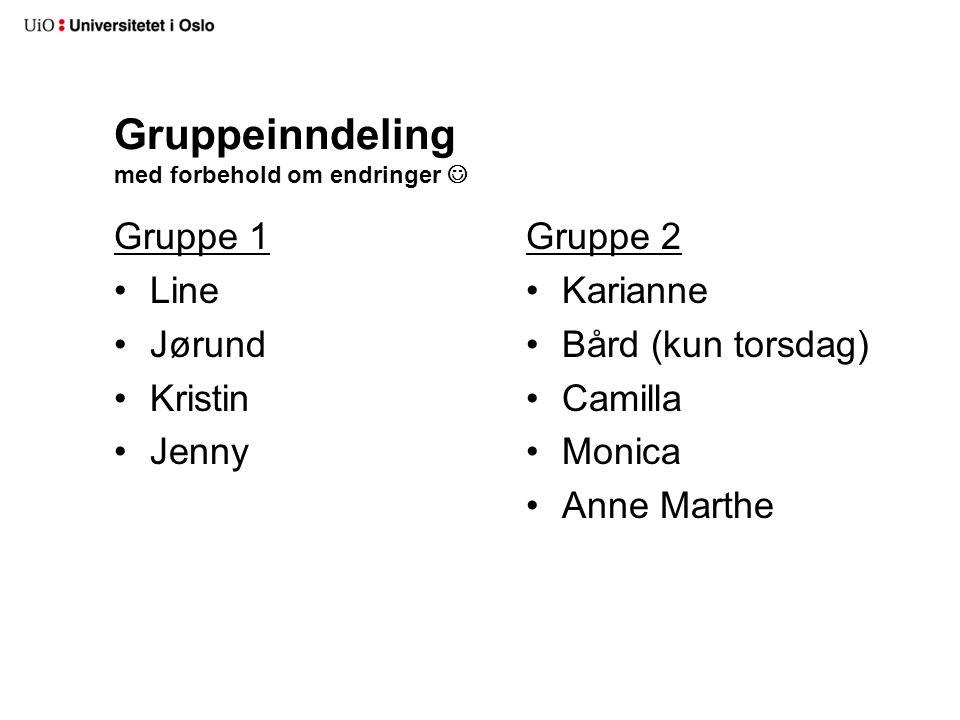 Gruppeinndeling med forbehold om endringer Gruppe 1 Line Jørund Kristin Jenny Gruppe 2 Karianne Bård (kun torsdag) Camilla Monica Anne Marthe