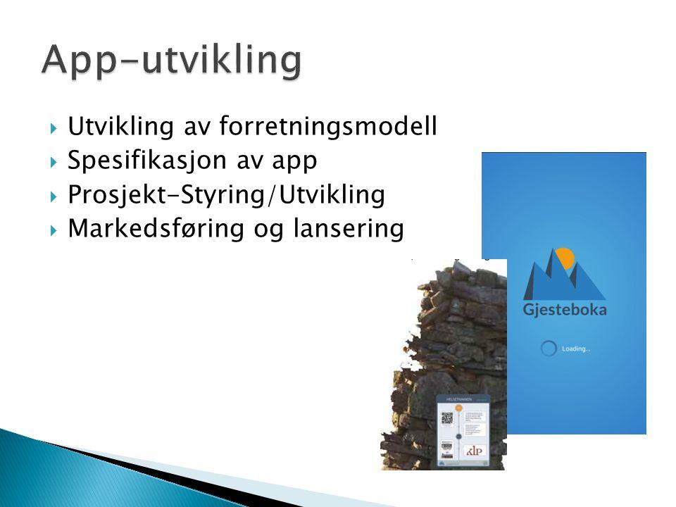  Utvikling av forretningsmodell  Spesifikasjon av app  Prosjekt-Styring/Utvikling  Markedsføring og lansering