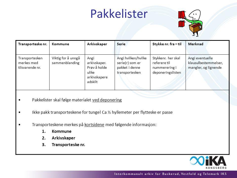 Pakkelister Transporteske nr.KommuneArkivskaperSerieStykke nr.