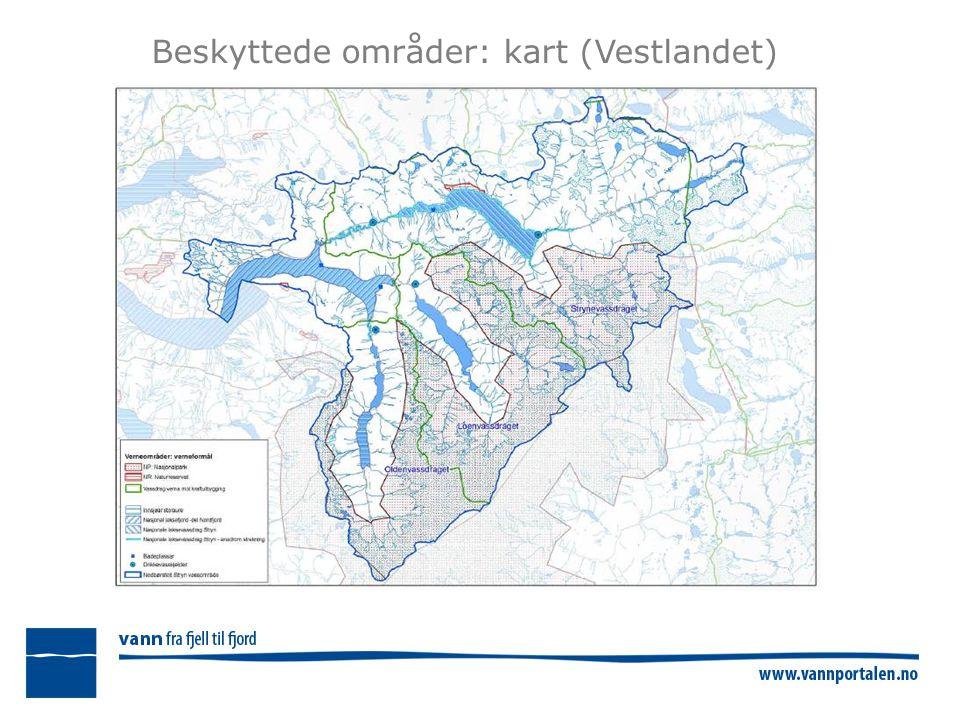 Beskyttede områder: kart (Vestlandet)