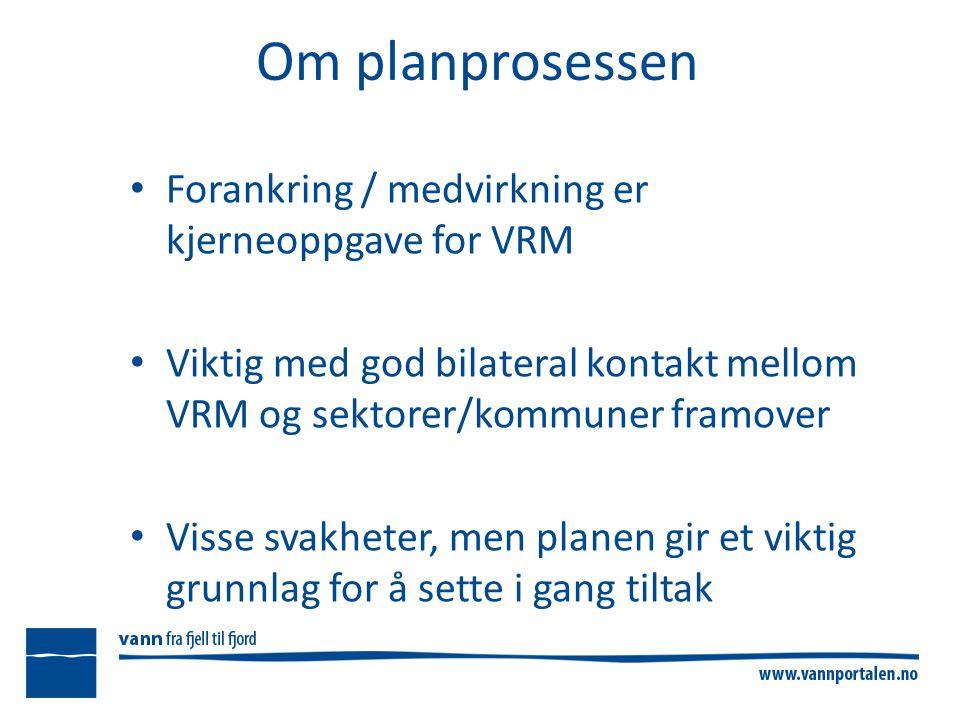 Om planprosessen Forankring / medvirkning er kjerneoppgave for VRM Viktig med god bilateral kontakt mellom VRM og sektorer/kommuner framover Visse svakheter, men planen gir et viktig grunnlag for å sette i gang tiltak