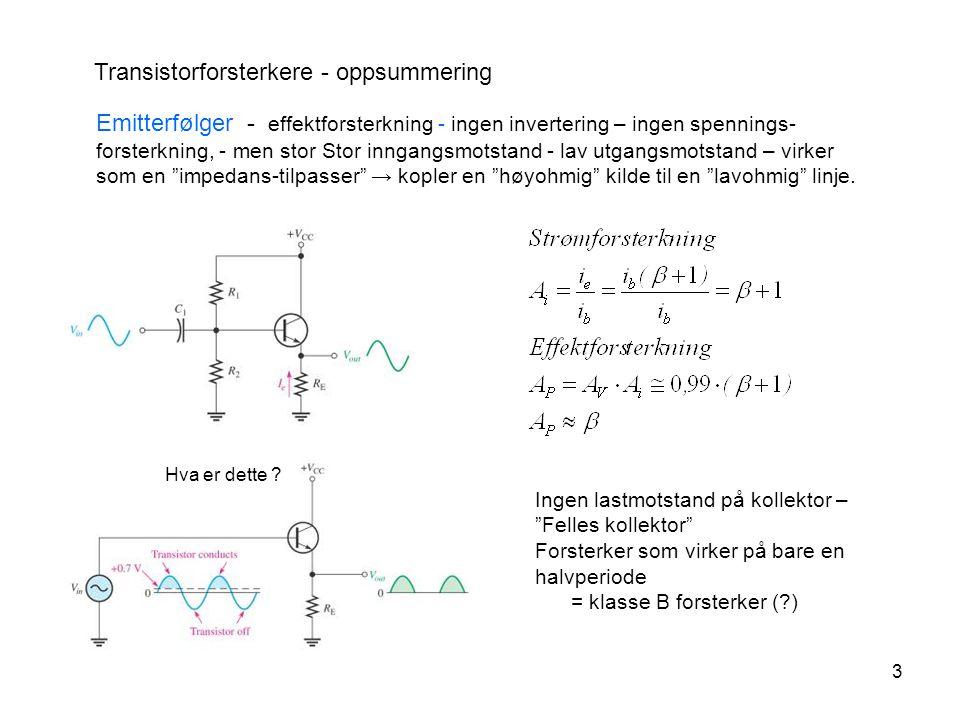 4 Transistorforsterkere - Effektforsterkere Klassifisering av forsterkere i.