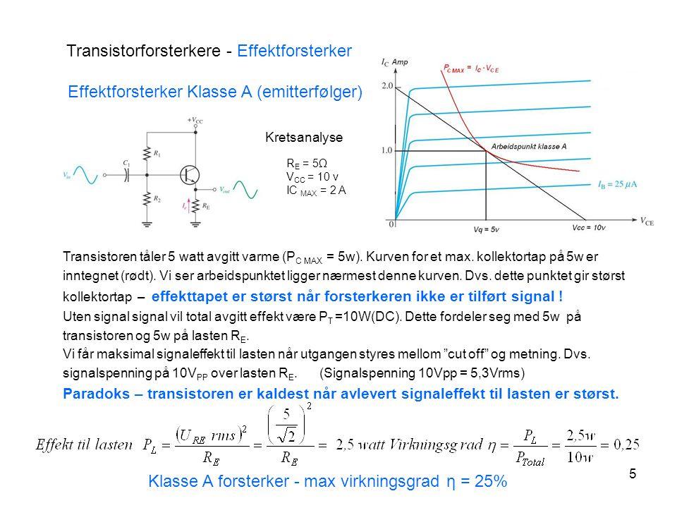 6 Transistorforsterkere – Effektforsterkere klasse B Push-Pull – Klasse B forsterkere – bruker både npn - og pnp – transistorer Uten signal er begge transistorene cut off Emitterfølger gir effektforsterkning Forsterker som bare virker på en halvperiode = klasse B forsterker Forsterkeren har Cross over distrortion – transistorene er cut off en kort periode ved hver 0 - gjennomgang.