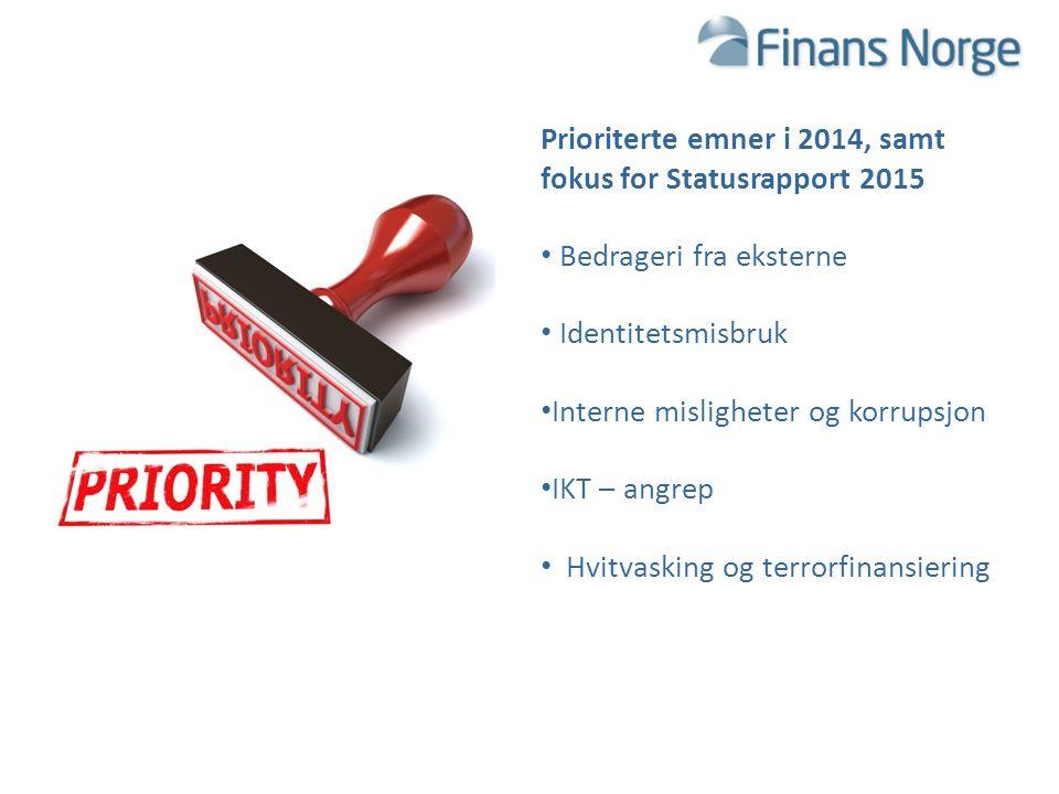 TRUSLER OG SIKKERHETSUTFORDRINGER FOR FINANSNÆRINGEN 2015 Prioriterte emner i 2014, samt fokus for Statusrapport 2015 Bedrageri fra eksterne Identitet