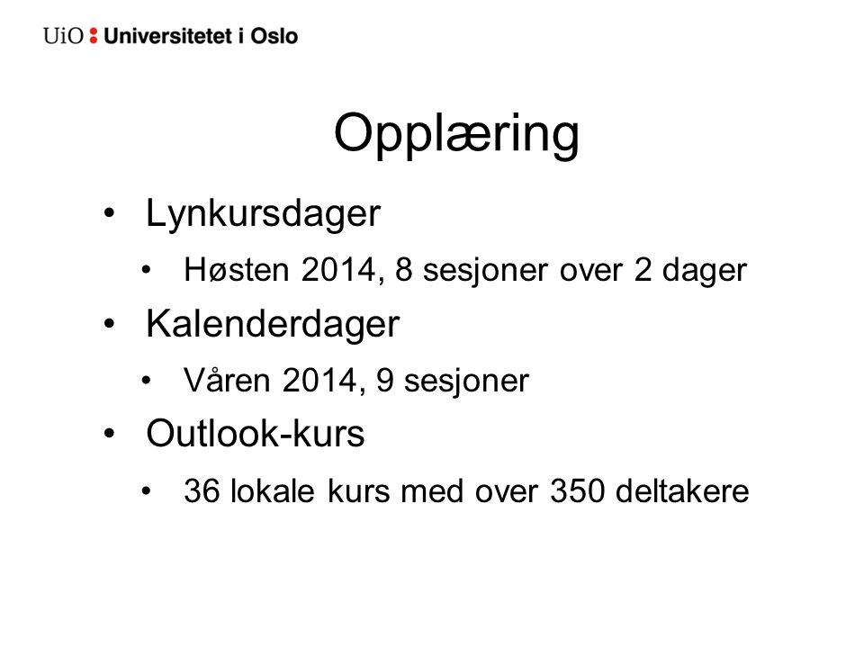 Opplæring Lynkursdager Høsten 2014, 8 sesjoner over 2 dager Kalenderdager Våren 2014, 9 sesjoner Outlook-kurs 36 lokale kurs med over 350 deltakere