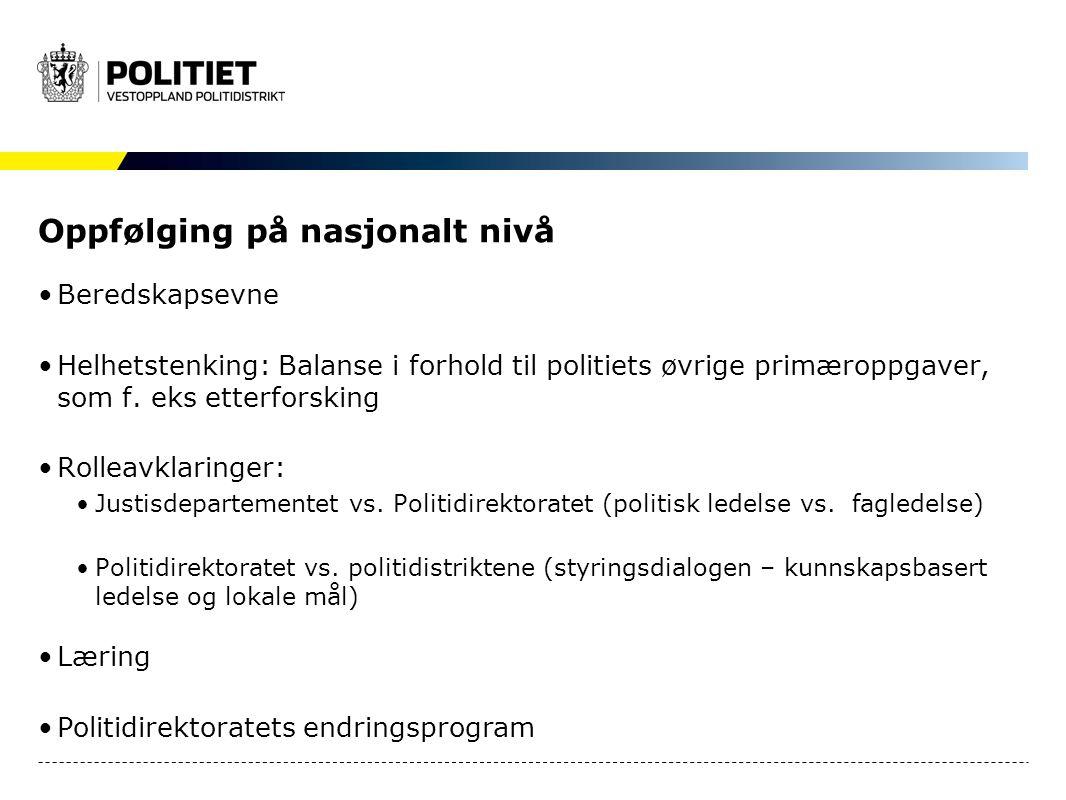 Oppfølging på nasjonalt nivå Beredskapsevne Helhetstenking: Balanse i forhold til politiets øvrige primæroppgaver, som f. eks etterforsking Rolleavkla