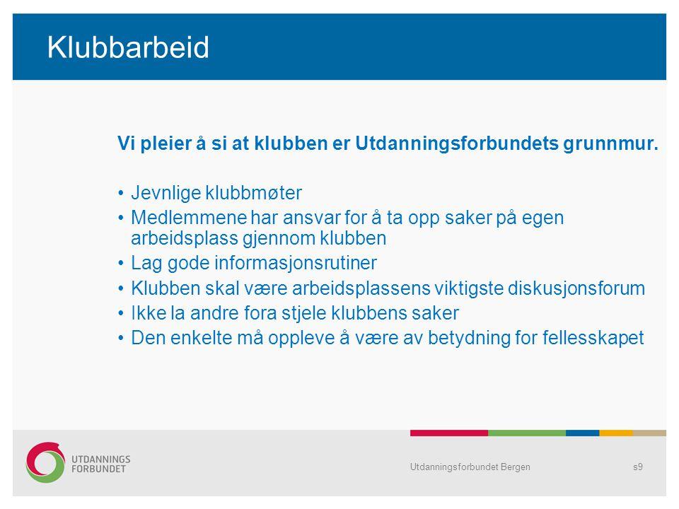 Utdanningsforbundet Bergens9 Klubbarbeid Vi pleier å si at klubben er Utdanningsforbundets grunnmur.