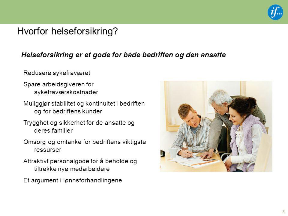 8 Hvorfor helseforsikring? Redusere sykefraværet Spare arbeidsgiveren for sykefraværskostnader Muliggjør stabilitet og kontinuitet i bedriften og for