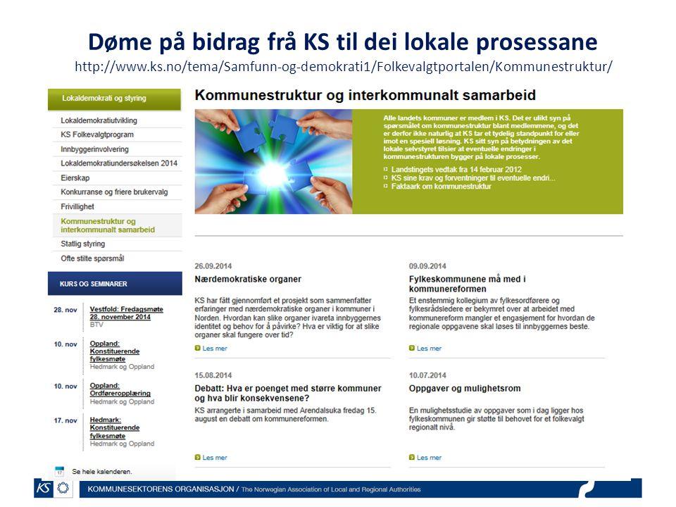 Døme på bidrag frå KS til dei lokale prosessane http://www.ks.no/tema/Samfunn-og-demokrati1/Folkevalgtportalen/Kommunestruktur/