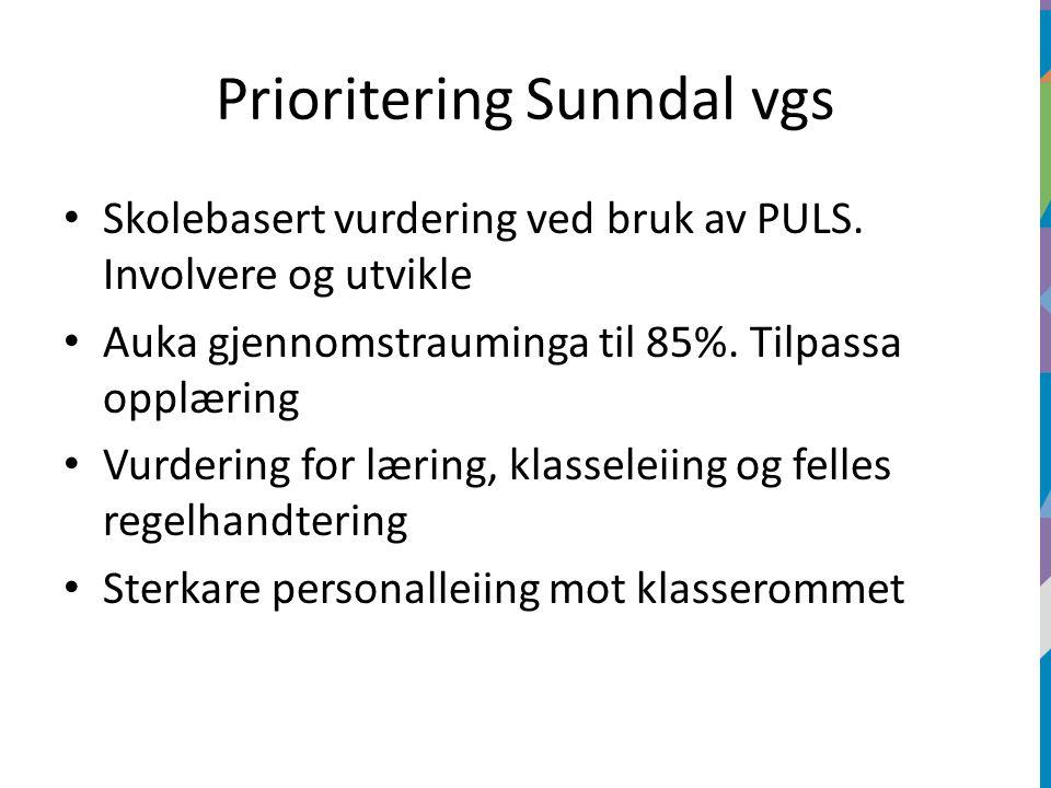 Prioritering Sunndal vgs Skolebasert vurdering ved bruk av PULS.