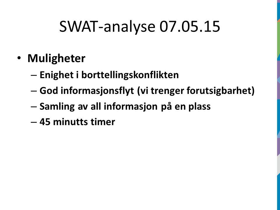 SWAT-analyse 07.05.15 Muligheter – Enighet i borttellingskonflikten – God informasjonsflyt (vi trenger forutsigbarhet) – Samling av all informasjon på en plass – 45 minutts timer