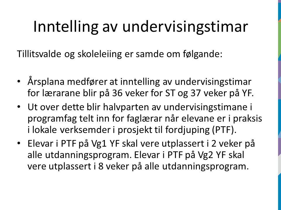 Inntelling av undervisingstimar Tillitsvalde og skoleleiing er samde om følgande: Årsplana medfører at inntelling av undervisingstimar for lærarane blir på 36 veker for ST og 37 veker på YF.
