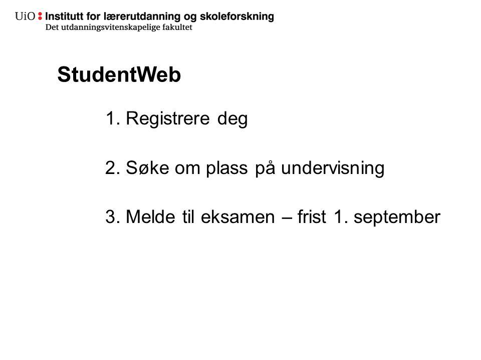 StudentWeb 1. Registrere deg 2. Søke om plass på undervisning 3.