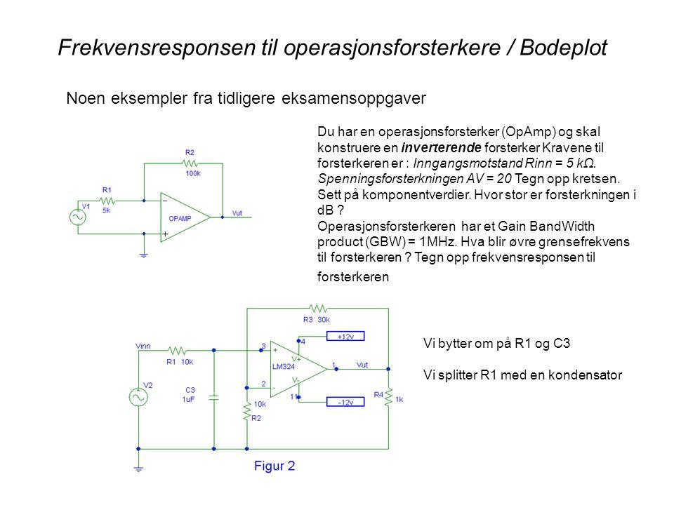 Frekvensresponsen til operasjonsforsterkere / Bodeplot Noen eksempler fra tidligere eksamensoppgaver Du har en operasjonsforsterker (OpAmp) og skal konstruere en inverterende forsterker Kravene til forsterkeren er : Inngangsmotstand Rinn = 5 kΩ.