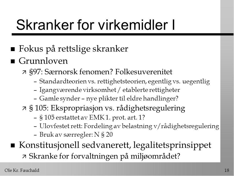 Ole Kr. Fauchald18 Skranker for virkemidler I n Fokus på rettslige skranker n Grunnloven ä §97: Særnorsk fenomen? Folkesuverenitet –Standardteorien vs