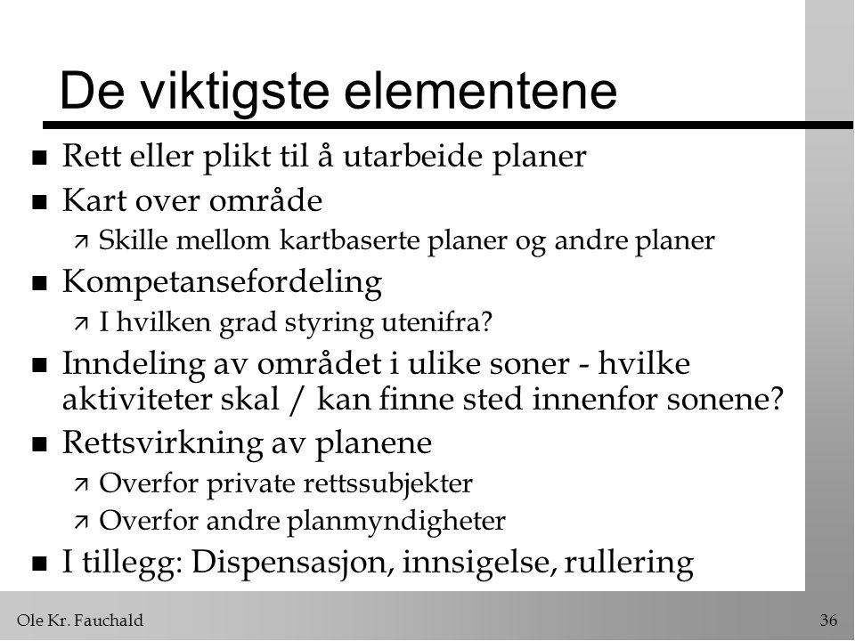 Ole Kr. Fauchald36 De viktigste elementene n Rett eller plikt til å utarbeide planer n Kart over område ä Skille mellom kartbaserte planer og andre pl