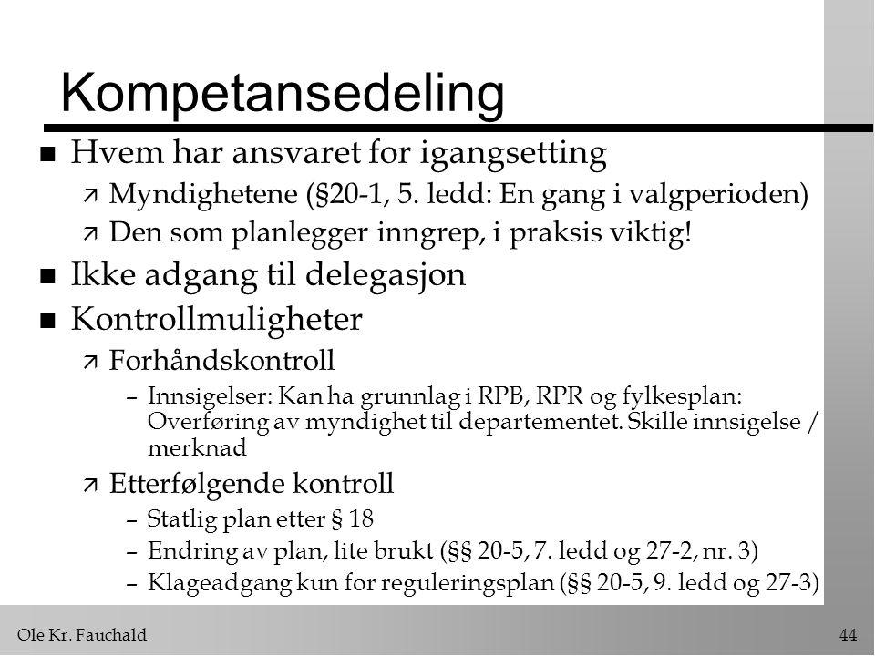 Ole Kr. Fauchald44 Kompetansedeling n Hvem har ansvaret for igangsetting ä Myndighetene (§20-1, 5. ledd: En gang i valgperioden) ä Den som planlegger