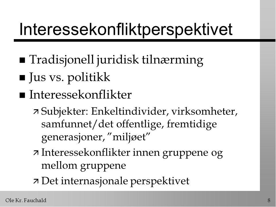 Ole Kr. Fauchald8 Interessekonfliktperspektivet n Tradisjonell juridisk tilnærming n Jus vs. politikk n Interessekonflikter ä Subjekter: Enkeltindivid