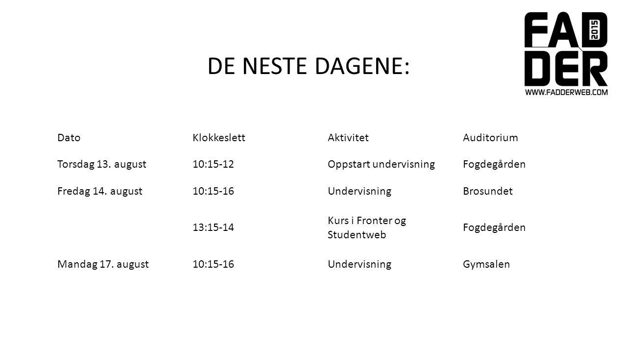 DatoKlokkeslettAktivitetAuditorium Torsdag 13.
