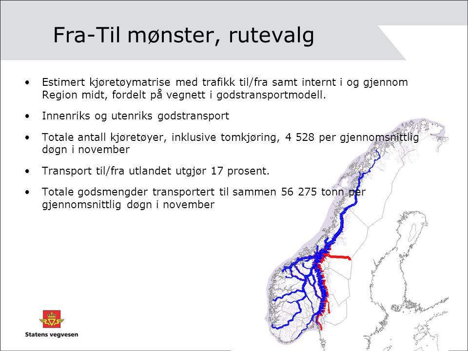 Fra-Til mønster, rutevalg Estimert kjøretøymatrise med trafikk til/fra samt internt i og gjennom Region midt, fordelt på vegnett i godstransportmodell.
