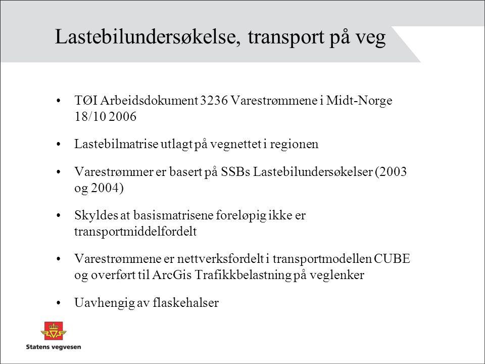 Lastebilundersøkelse, transport på veg TØI Arbeidsdokument 3236 Varestrømmene i Midt-Norge 18/10 2006 Lastebilmatrise utlagt på vegnettet i regionen Varestrømmer er basert på SSBs Lastebilundersøkelser (2003 og 2004) Skyldes at basismatrisene foreløpig ikke er transportmiddelfordelt Varestrømmene er nettverksfordelt i transportmodellen CUBE og overført til ArcGis Trafikkbelastning på veglenker Uavhengig av flaskehalser