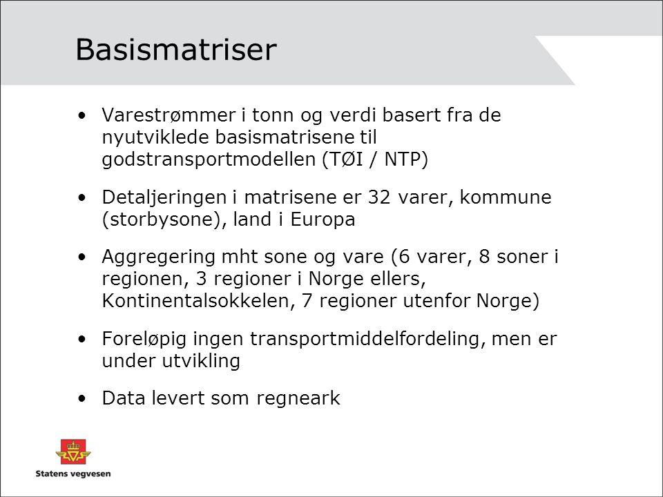 Basismatriser Varestrømmer i tonn og verdi basert fra de nyutviklede basismatrisene til godstransportmodellen (TØI / NTP) Detaljeringen i matrisene er 32 varer, kommune (storbysone), land i Europa Aggregering mht sone og vare (6 varer, 8 soner i regionen, 3 regioner i Norge ellers, Kontinentalsokkelen, 7 regioner utenfor Norge) Foreløpig ingen transportmiddelfordeling, men er under utvikling Data levert som regneark