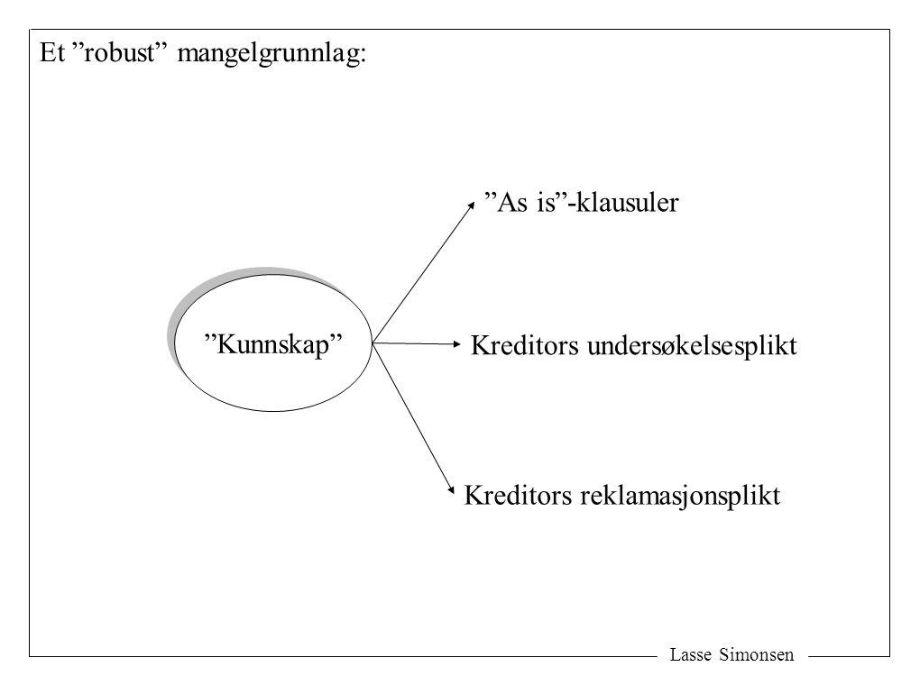 """Lasse Simonsen """"Kunnskap"""" """"As is""""-klausuler Kreditors undersøkelsesplikt Kreditors reklamasjonsplikt Et """"robust"""" mangelgrunnlag:"""