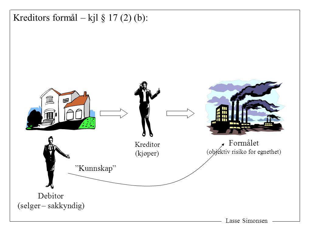"""Lasse Simonsen Kreditors formål – kjl § 17 (2) (b): Formålet (objektiv risiko for egnethet) Kreditor (kjøper) Debitor (selger – sakkyndig) """"Kunnskap"""""""