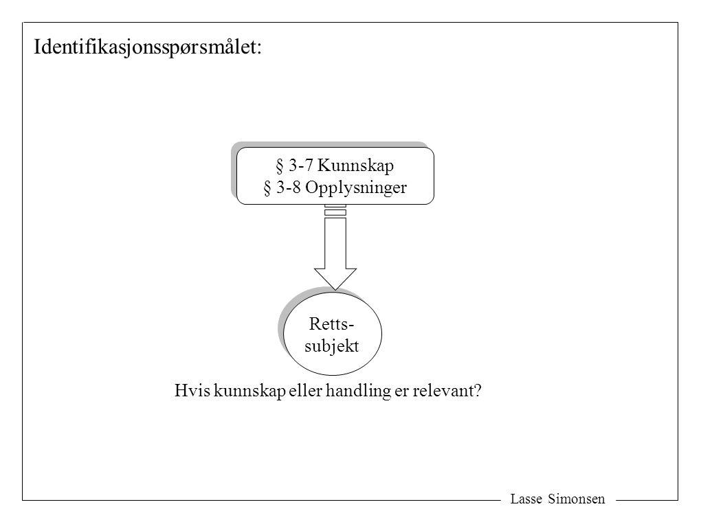 Lasse Simonsen Retts- subjekt Retts- subjekt § 3-7 Kunnskap § 3-8 Opplysninger § 3-7 Kunnskap § 3-8 Opplysninger Hvis kunnskap eller handling er relev