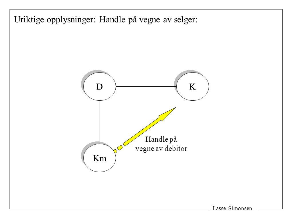 Lasse Simonsen Uriktige opplysninger: Handle på vegne av selger: D D Km K K Handle på vegne av debitor