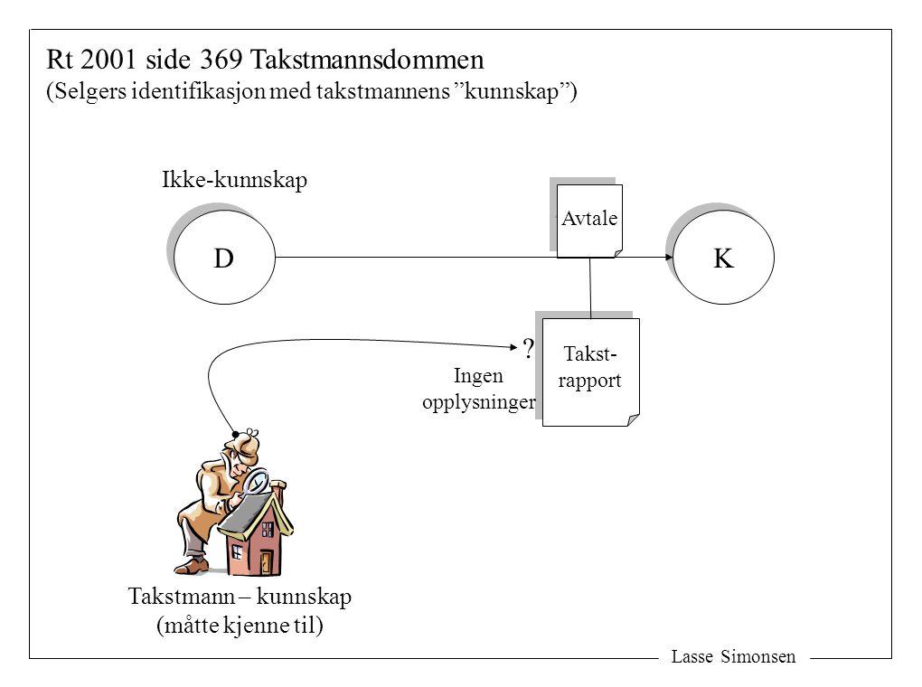 """Avtale Takstmann – kunnskap (måtte kjenne til) Ikke-kunnskap Rt 2001 side 369 Takstmannsdommen (Selgers identifikasjon med takstmannens """"kunnskap"""") D"""
