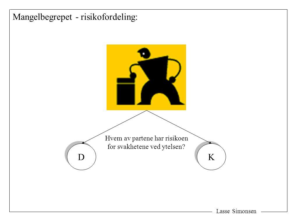 Lasse Simonsen Mangelbegrepet - risikofordeling: D D K K Hvem av partene har risikoen for svakhetene ved ytelsen?