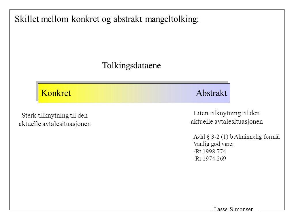 Lasse Simonsen Skillet mellom konkret og abstrakt mangeltolking: Tolkingsdataene KonkretAbstrakt Liten tilknytning til den aktuelle avtalesituasjonen