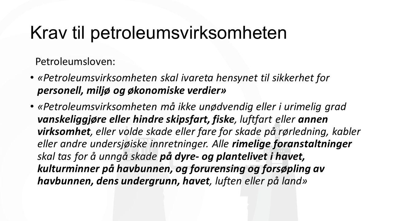 Krav til petroleumsvirksomheten Petroleumsloven: «Petroleumsvirksomheten skal ivareta hensynet til sikkerhet for personell, miljø og økonomiske verdier» «Petroleumsvirksomheten må ikke unødvendig eller i urimelig grad vanskeliggjøre eller hindre skipsfart, fiske, luftfart eller annen virksomhet, eller volde skade eller fare for skade på rørledning, kabler eller andre undersjøiske innretninger.
