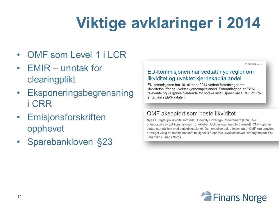 11 Viktige avklaringer i 2014 OMF som Level 1 i LCR EMIR – unntak for clearingplikt Eksponeringsbegrensning i CRR Emisjonsforskriften opphevet Sparebankloven §23