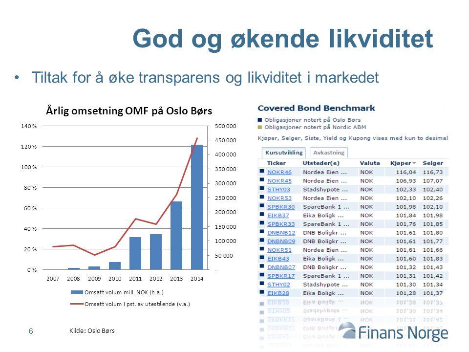 Tiltak for å øke transparens og likviditet i markedet 6 God og økende likviditet Kilde: Oslo Børs
