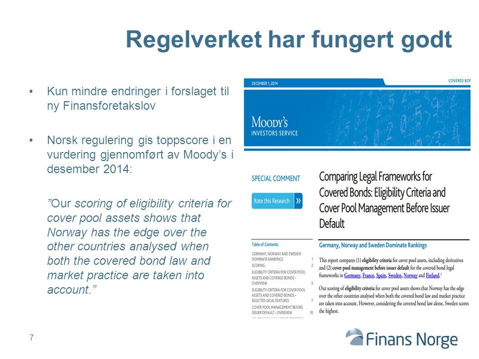 """Kun mindre endringer i forslaget til ny Finansforetakslov Norsk regulering gis toppscore i en vurdering gjennomført av Moody's i desember 2014: """"Our s"""