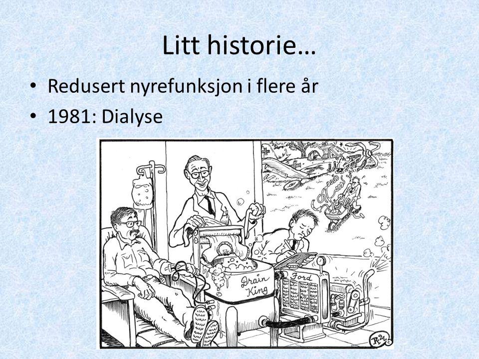 Litt historie… Redusert nyrefunksjon i flere år 1981: Dialyse