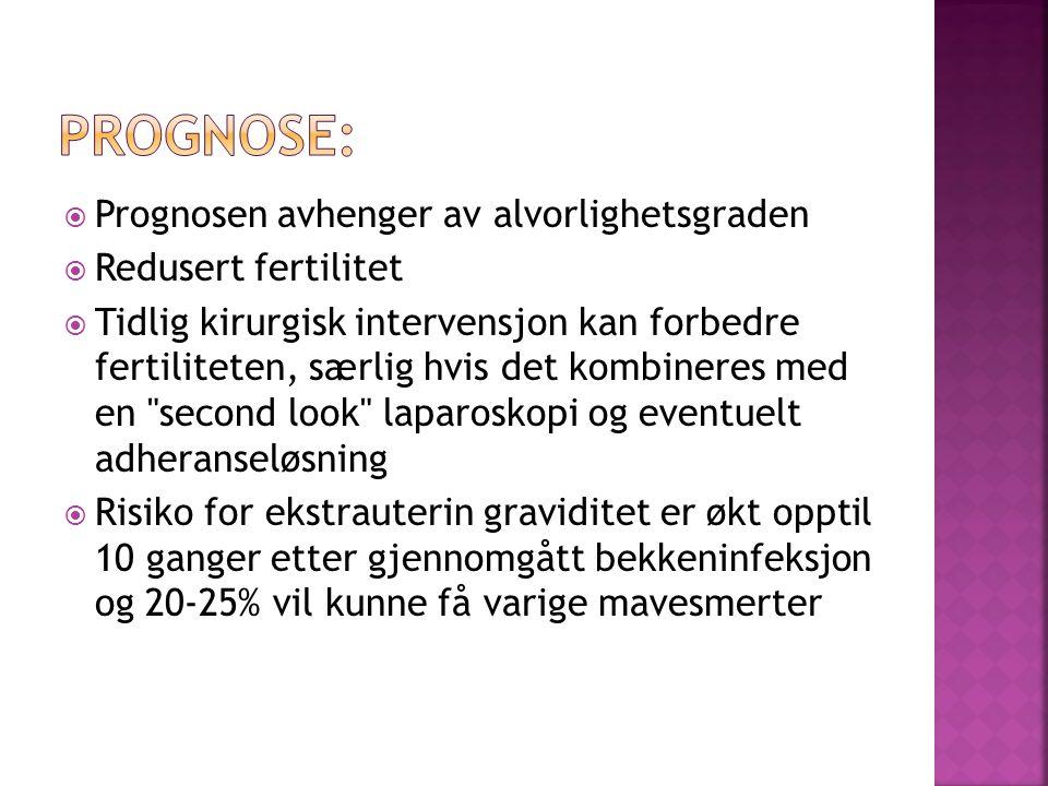Prognosen avhenger av alvorlighetsgraden Redusert fertilitet Tidlig kirurgisk intervensjon kan forbedre fertiliteten, særlig hvis det kombineres med e