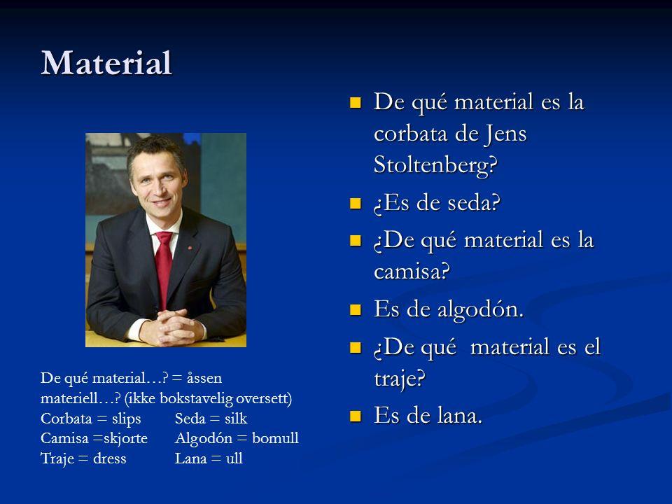 Material De qué material es la corbata de Jens Stoltenberg? ¿Es de seda? ¿De qué material es la camisa? Es de algodón. ¿De qué material es el traje? E