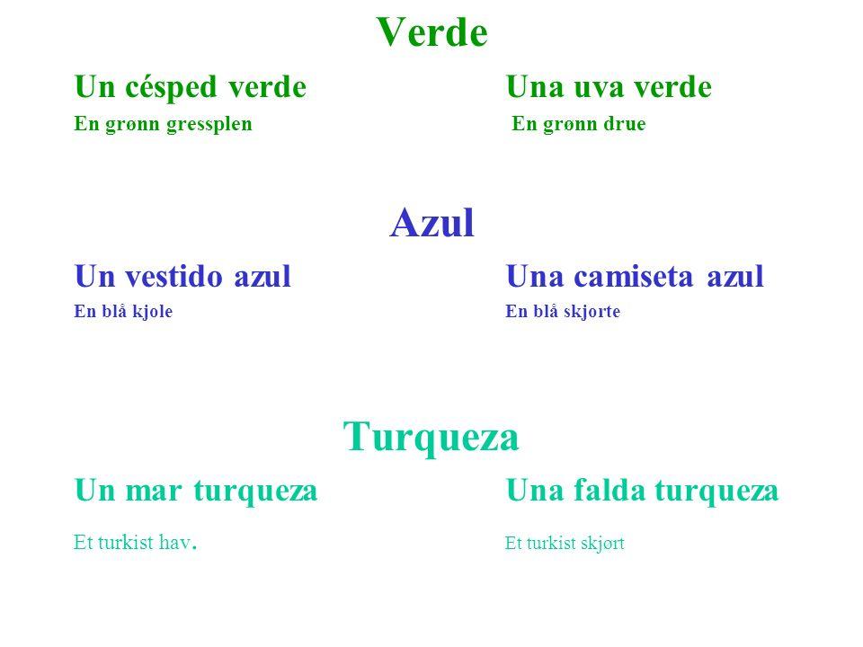 Verde Un césped verdeUna uva verde En grønn gressplen En grønn drue Azul Un vestido azulUna camiseta azul En blå kjoleEn blå skjorte Turqueza Un mar t