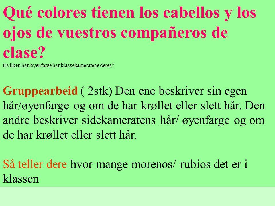 Qué colores tienen los cabellos y los ojos de vuestros compañeros de clase? Hvilken hår/øyenfarge har klassekameratene deres? Gruppearbeid ( 2stk) Den