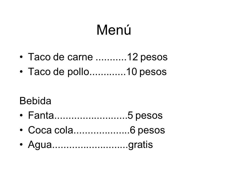 Menú Taco de carne...........12 pesos Taco de pollo.............10 pesos Bebida Fanta..........................5 pesos Coca cola....................6 pesos Agua...........................gratis