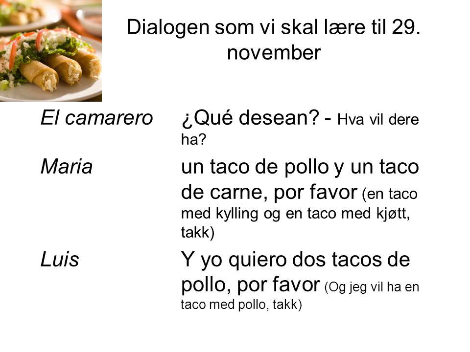Dialogen som vi skal lære til 29.november El camarero ¿Qué desean.