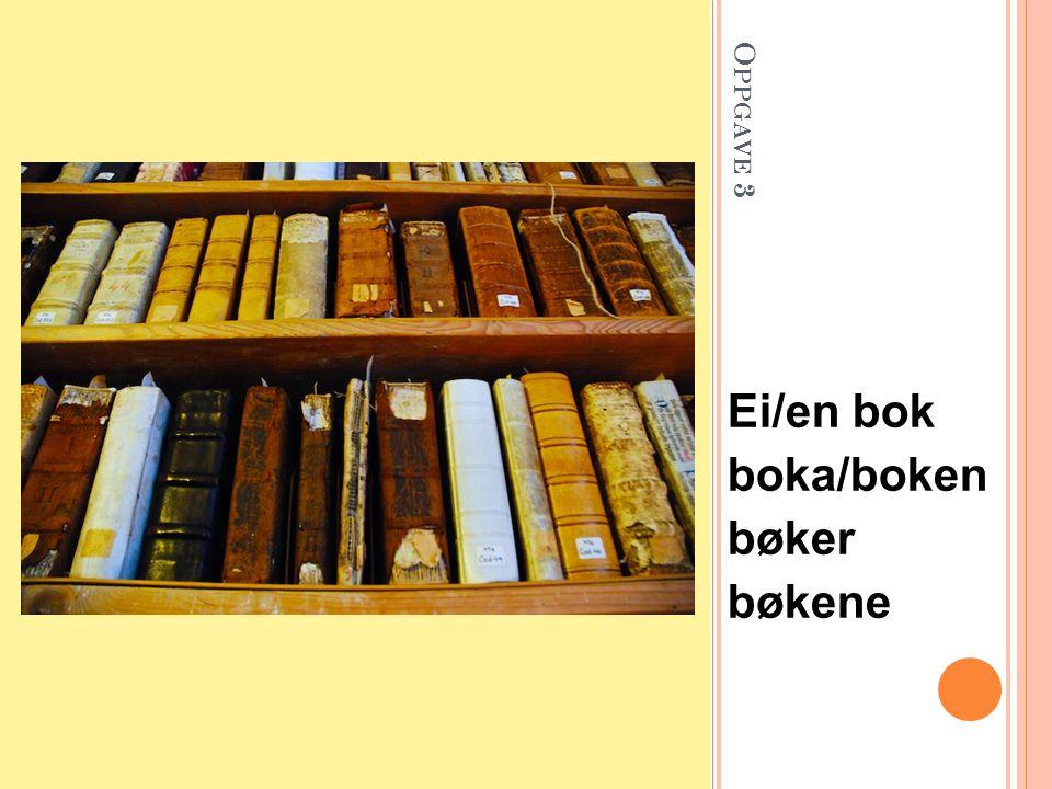 O PPGAVE 3 Ei/en bok boka/boken bøker bøkene