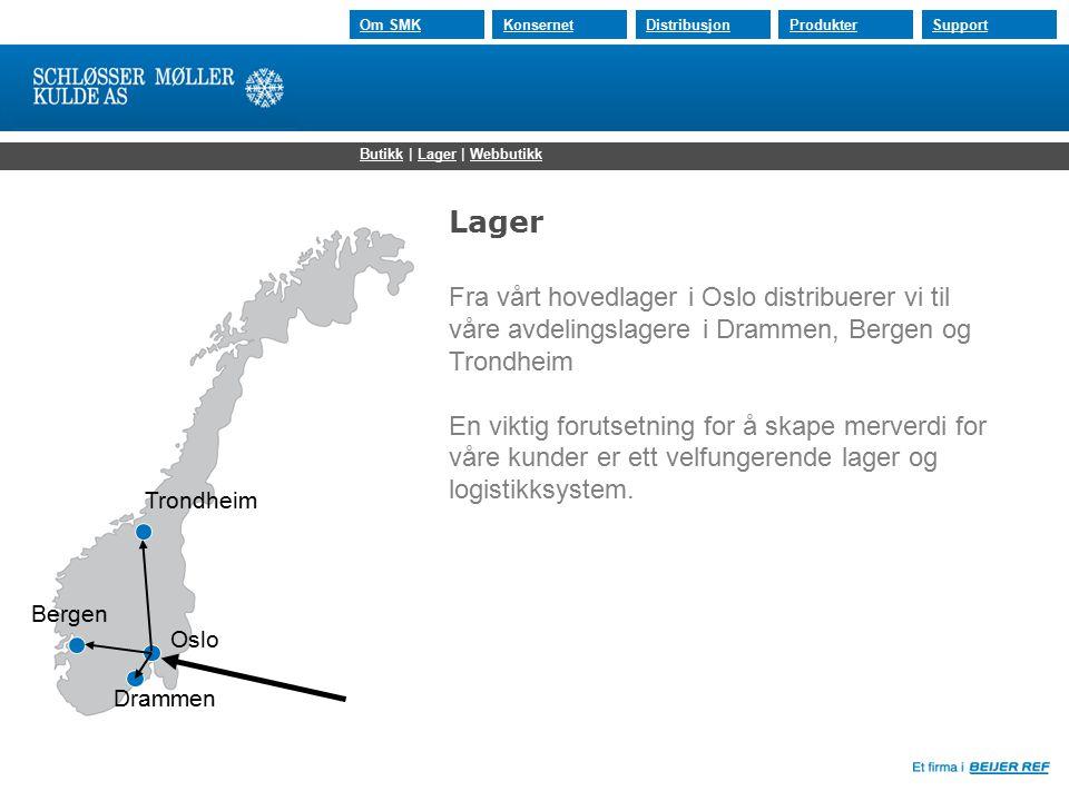 30.07.2015 Om SMKKonsernetDistribusjonProdukterSupport Oslo Drammen Bergen Trondheim ButikkButikk | Lager | WebbutikkLagerWebbutikk Lager Fra vårt hov