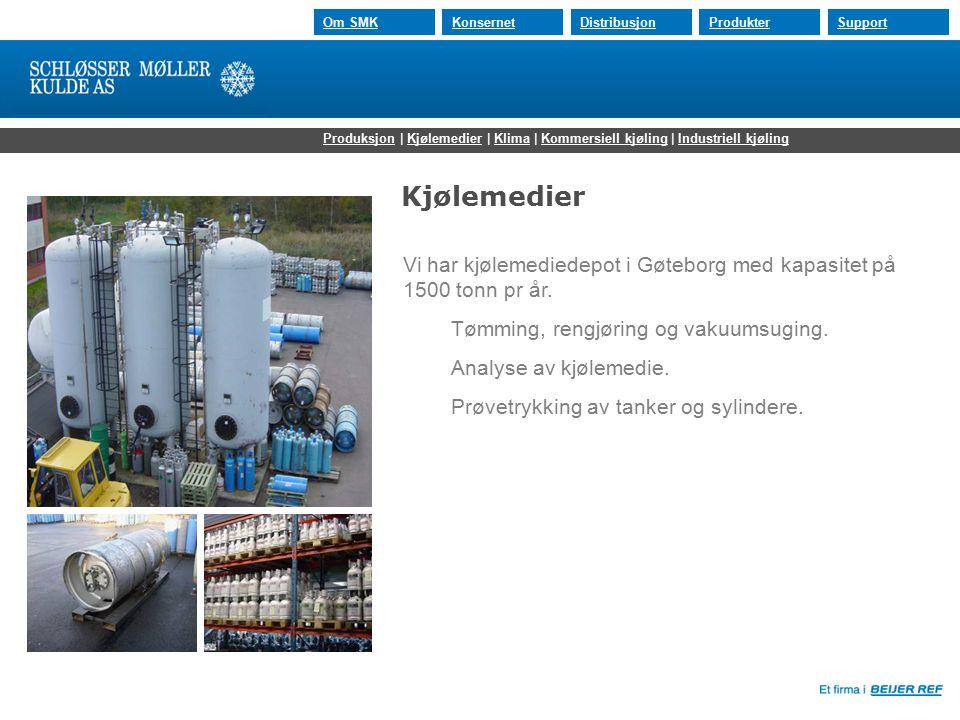 30.07.2015 Om SMKKonsernetDistribusjonProdukterSupport Kjølemedier Vi har kjølemediedepot i Gøteborg med kapasitet på 1500 tonn pr år. Tømming, rengjø